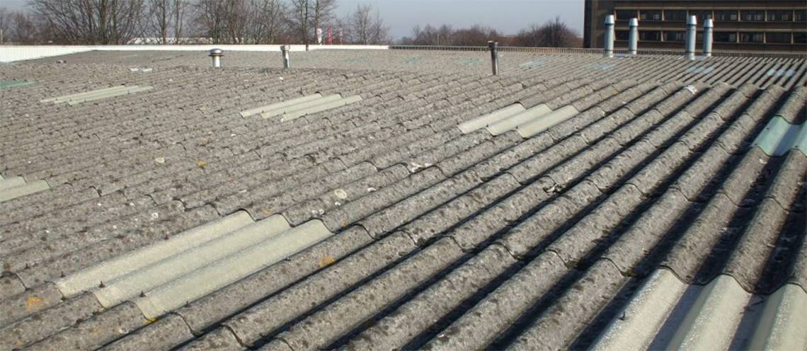 Asbestos Sheet Roof on a commercial building